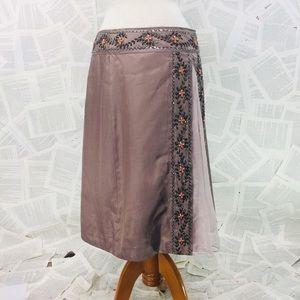 United Colors Of Benetton Silk Beaded Skirt SZ 42